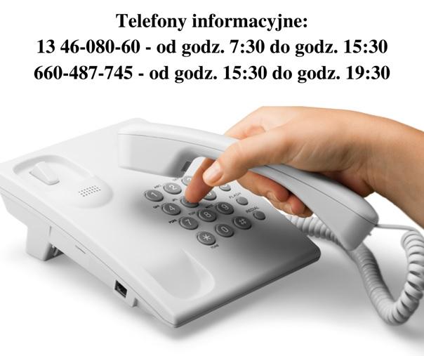 Pracownicy dyżurują pod wskazanymi numerami telefonów w dni robocze od godz. 7:30 do godz. 15:30 – tel. 13 46-080-60 i 13 46-080-30. Uruchomiono również w godzinach od 15:30 do 19:30 dodatkowy nr telefonu: 660-487-745. Kontakt z dyżurującym pracownikiem Ośrodka będzie możliwy codziennie.